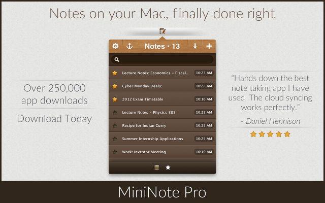 MiniNote mac