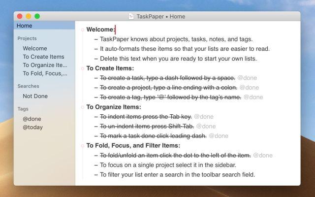 TaskPaper mac
