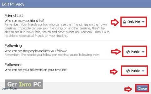 choose friendlist privacy settings on facebook
