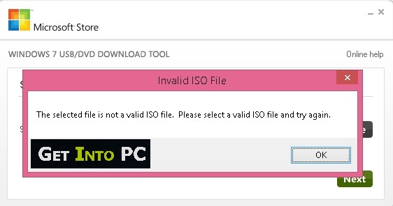 fix selected file is not a valid iso file error