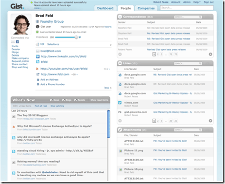 Gist dashboard person view