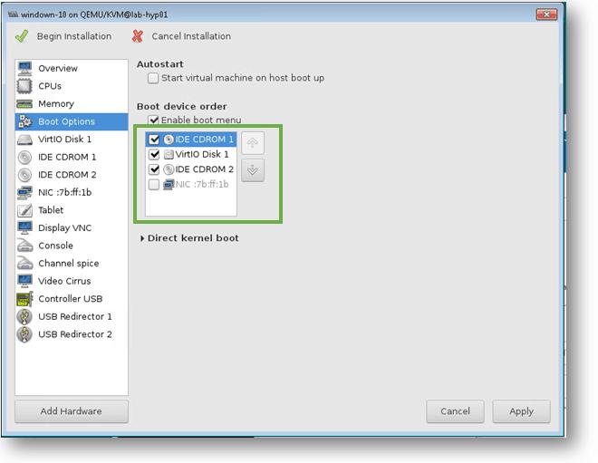 kvm boot order for windows 10 vm