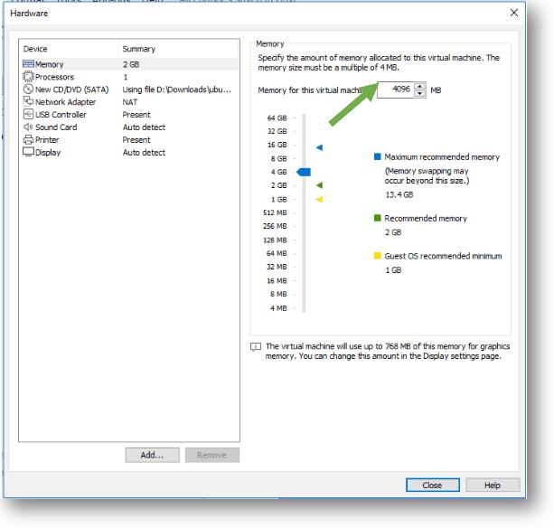 Ubuntu VMware memory chnage