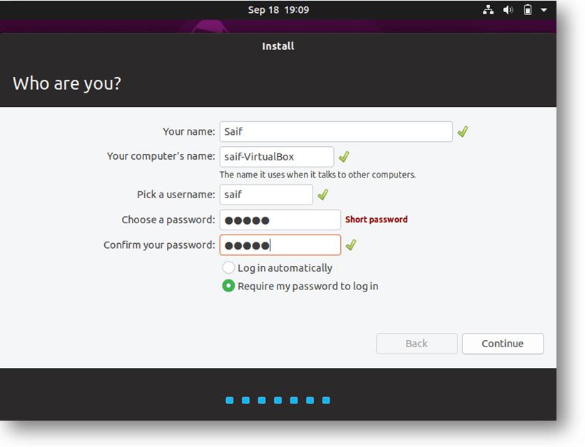ubuntu vm install wizard - setup credentials
