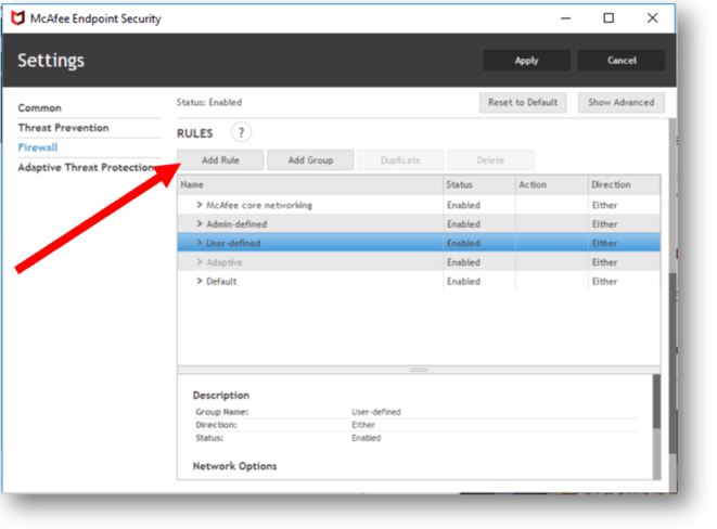 McAfee Endpoint Security firewall add rules
