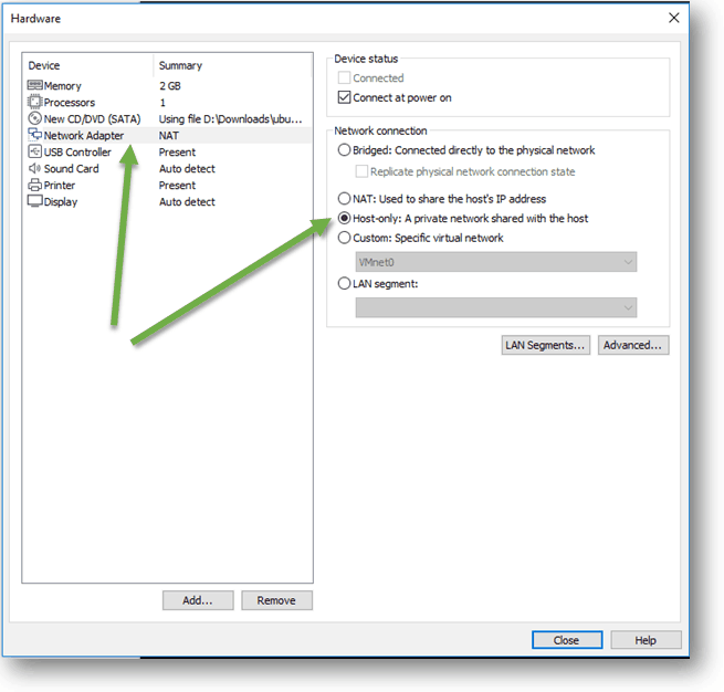change vmware workstation network from NAT to host-only.