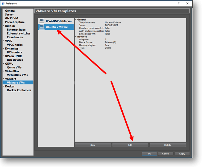 Edit the vm that you already installed in gns3