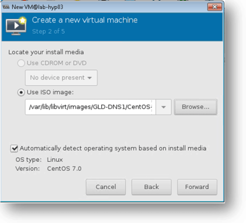attach the centos iso image to the kvm hypervisor