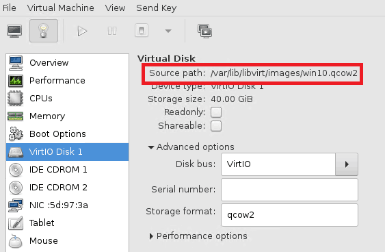windows 10 storage location in kvm