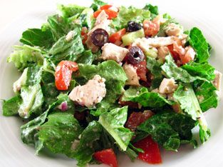 Greek salad with chicken for a lunch