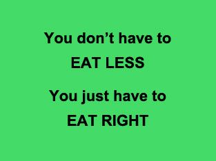 You don't have to EAT LESS - You just have to EAT RIGHT