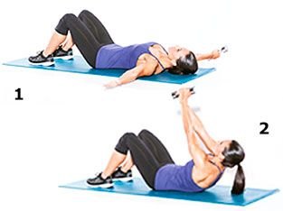 The dumbbell crunch exercise