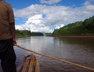 floating down a river in the amazon on a make-shift balsa raft.
