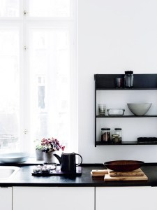 Coherent and calm tones equalize dark countertops with white walls forming the perfect modern minimalist appearance.