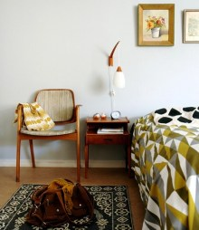 Add some flare with this modern, mid-century furnished bedroom arrangement.