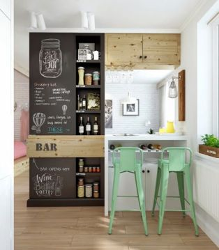 Mint stools are used to bring a fresh, lively feel to this tiny kitchen.