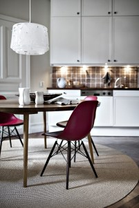 A pop of marsala can add an extra flare to any dining area.