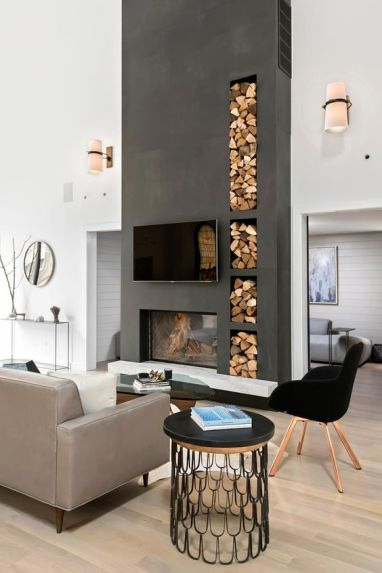 This modern living room turns its firewood storage into an eye-catching part of the décor.