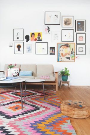 An open space with complimentary artwork.