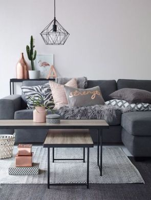 Glam up your sofa with rose gold.
