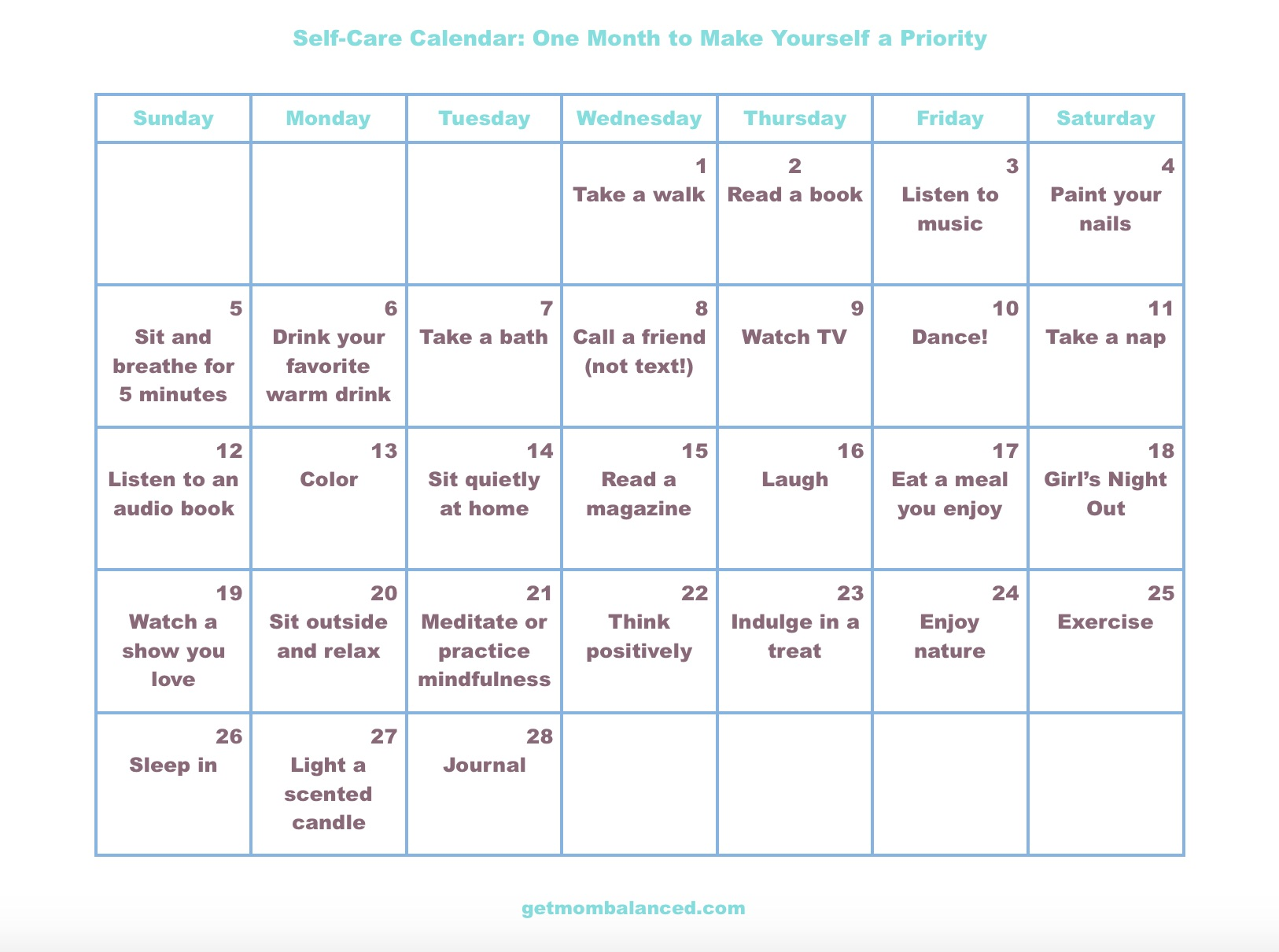 Self Care Calendar For Busy Moms And Women