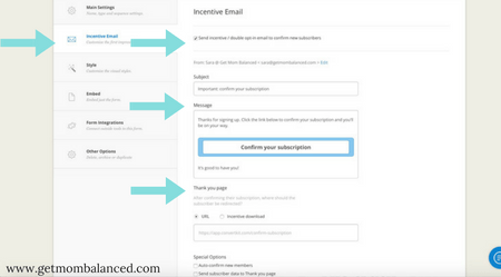 Landing page ConvertKit | Incentive email