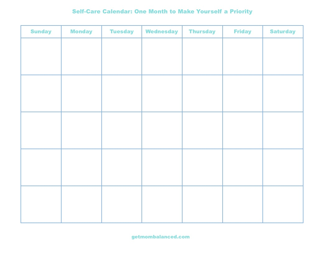 Self-care calendar | Free printable | One month of self-care