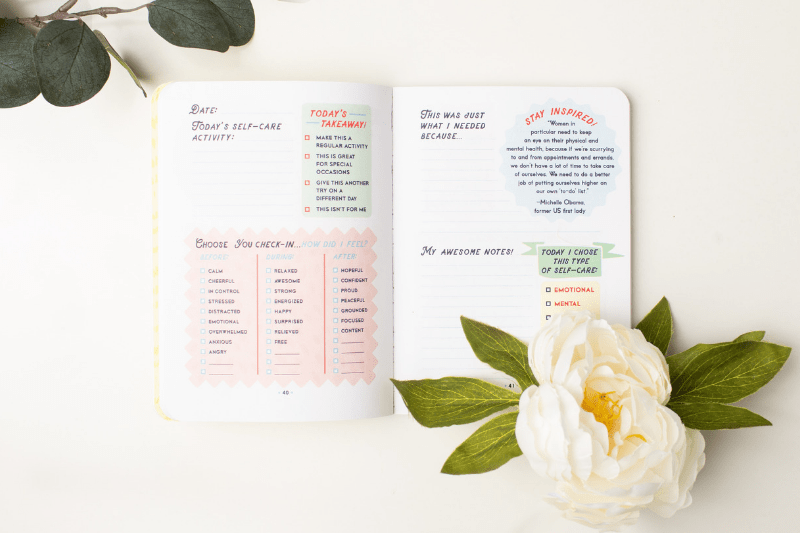 Inside of Choose You Self-Care Journal