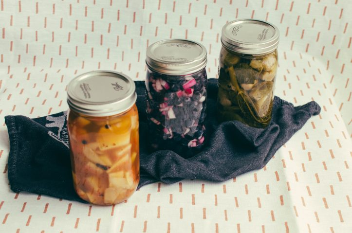 Top down view of three pickling jars with different contents - The Mummy