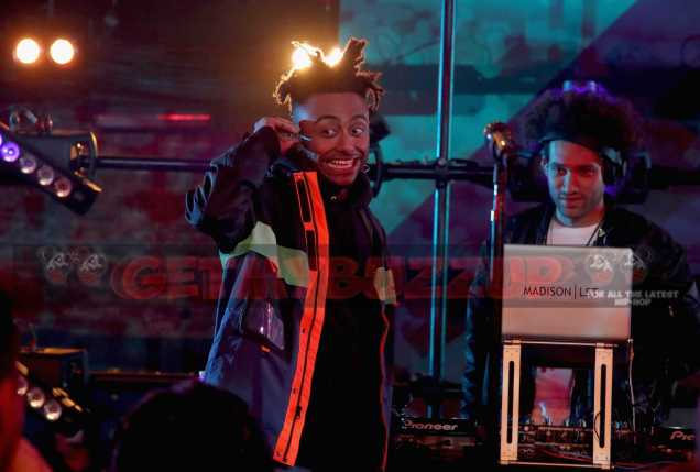 "LOS ANGELES, CA - NOVEMBER 17: Rapper Amine performs onstage at MTV's ""Wonderland"" LIVE Show on November 17, 2016 in Los Angeles, California. (Photo by Randy Shropshire/Getty Images for MTV) *** Local Caption *** Amine"