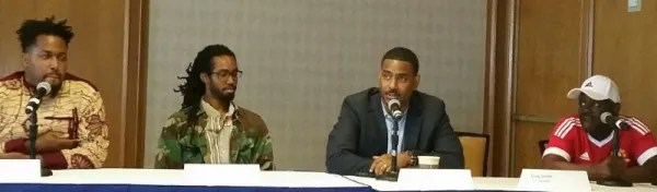 The Social Justice panel (from left to right): moderator Obari Cartman, H.E.L.P. LLC; Ayinde Cartman, Executive Director of Real Men Charities; Rev. Otis Moss, III, Social Justice Activist and Pastor, Trinity United Church of Christ; and DJ Greg Street, radio personality at V103 Radio in Atlanta.