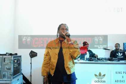 """NEW YORK, NY - OCTOBER 26: Pusha T performs at the Launch Of Pusha T's Latest Collaboration With adidas Originals, KING PUSH X ADIDAS ORIGINALS EQT """"BODEGA BABIES"""" on October 26, 2017 in New York City. (Photo by Brad Barket/Getty Images for adidas) *** Local Caption *** Pusha T"""