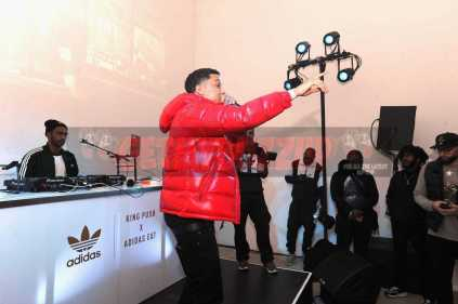 """NEW YORK, NY - OCTOBER 26: Lil Bibby performs at the Launch Of Pusha T's Latest Collaboration With adidas Originals, KING PUSH X ADIDAS ORIGINALS EQT """"BODEGA BABIES"""" on October 26, 2017 in New York City. (Photo by Brad Barket/Getty Images for adidas) *** Local Caption *** Lil Bibby"""