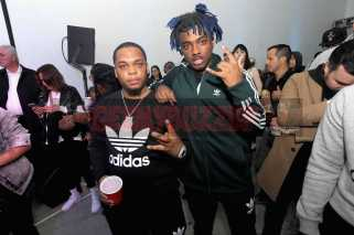 """NEW YORK, NY - OCTOBER 26: Don Q and Lougotcash attend the Launch Of Pusha T's Latest Collaboration With adidas Originals, KING PUSH X ADIDAS ORIGINALS EQT """"BODEGA BABIES"""" on October 26, 2017 in New York City. (Photo by Brad Barket/Getty Images for adidas) *** Local Caption *** Don Q; Lougotcash"""