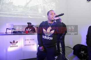 """NEW YORK, NY - OCTOBER 26: Don Q performs at the Launch Of Pusha T's Latest Collaboration With adidas Originals, KING PUSH X ADIDAS ORIGINALS EQT """"BODEGA BABIES"""" on October 26, 2017 in New York City. (Photo by Brad Barket/Getty Images for adidas) *** Local Caption *** Don Q"""