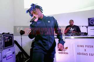 """NEW YORK, NY - OCTOBER 26: Lougotcash performs at the Launch Of Pusha T's Latest Collaboration With adidas Originals, KING PUSH X ADIDAS ORIGINALS EQT """"BODEGA BABIES"""" on October 26, 2017 in New York City. (Photo by Brad Barket/Getty Images for adidas) *** Local Caption *** Lougotcash"""