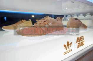 """NEW YORK, NY - OCTOBER 26: Sneakers on display at the Launch Of Pusha T's Latest Collaboration With adidas Originals, KING PUSH X ADIDAS ORIGINALS EQT """"BODEGA BABIES"""" on October 26, 2017 in New York City. (Photo by Brad Barket/Getty Images for adidas)"""