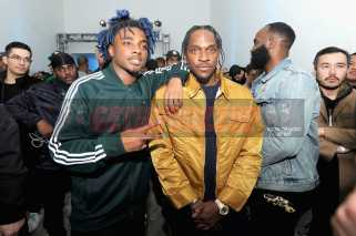 """NEW YORK, NY - OCTOBER 26: Lougotcash and Pusha T attend the Launch Of Pusha T's Latest Collaboration With adidas Originals, KING PUSH X ADIDAS ORIGINALS EQT """"BODEGA BABIES"""" on October 26, 2017 in New York City. (Photo by Brad Barket/Getty Images for adidas) *** Local Caption *** Lougotcash; Pusha T"""
