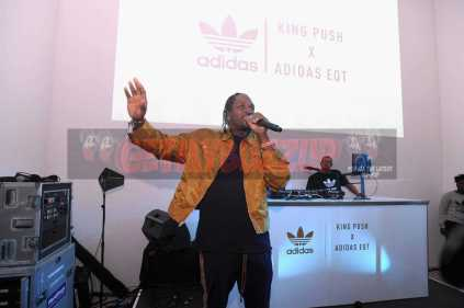 """NEW YORK, NY - OCTOBER 26: Pusha T attends at the Launch Of Pusha T's Latest Collaboration With adidas Originals, KING PUSH X ADIDAS ORIGINALS EQT """"BODEGA BABIES"""" on October 26, 2017 in New York City. (Photo by Brad Barket/Getty Images for adidas) *** Local Caption *** Pusha T"""