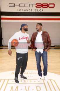 TORRANCE, CA - NOVEMBER 02: Baron Davis (L) and Roger Mason Jr. attend The Launch of The House Of Remy Martin MVP Experience at Shoot 360 on November 2, 2017 in Torrance, California. (Photo by Jerritt Clark/Getty Images for Remy Martin)