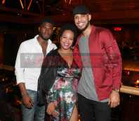 LOS ANGELES, CA - NOVEMBER 02: Broderick Hunter, The5thColumn PR Vice President Ericka Regine and Sarunas Jackson attend The MVP Experience Launch Dinner hosted by The House of Remy Martin at Tao on November 2, 2017 in Los Angeles, California. (Photo by Jerritt Clark/Getty Images for Remy Martin)