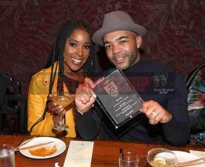 LOS ANGELES, CA - NOVEMBER 02: Ashley Blaine Featherson (L) and Jonathan Kirkland attend The MVP Experience Launch Dinner hosted by The House of Remy Martin at Tao on November 2, 2017 in Los Angeles, California. (Photo by Jerritt Clark/Getty Images for Remy Martin)