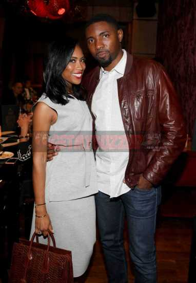 LOS ANGELES, CA - NOVEMBER 02: Adrienne Mason (L) and Roger Mason Jr. attend The MVP Experience Launch Dinner hosted by The House of Remy Martin at Tao on November 2, 2017 in Los Angeles, California. (Photo by Jerritt Clark/Getty Images for Remy Martin)