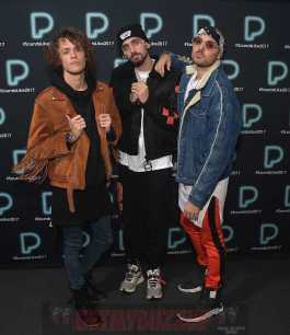 NEW YORK, NY - DECEMBER 05: Trevor Dahl, Kevin Ford and Matthew Russell of Cheat Codes pose backstage at Pandora Sounds Like You: 2017 on December 5, 2017 in New York City. (Photo by Theo Wargo/Getty Images for Pandora)