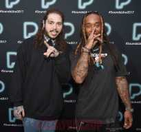 NEW YORK, NY - DECEMBER 05: Post Malone and Ty Dolla Sign pose backstage at Pandora Sounds Like You: 2017 on December 5, 2017 in New York City. (Photo by Theo Wargo/Getty Images for Pandora)