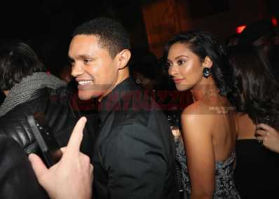 NEW YORK, NY - JANUARY 28: Trevor Noah (L) and Jordyn Taylor attend Universal Music Group's 2018 After Party to celebrate the Grammy Awards supported by The House Of Remy Martin at Spring Studios on January 28, 2018 in New York City. (Photo by Johnny Nunez/Getty Images for Remy Martin)