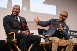 """AUSTIN, TX - MARCH 17: Director Marcus A. Clarke and T.I. attend a Q&A following the premiere of """"Rapture"""" during SXSW 2018 on March 17, 2018 in Austin, Texas. (Photo by Daniel Boczarski/Getty Images for Netflix) *** Local Caption *** Marcus A. Clarke;T.I."""