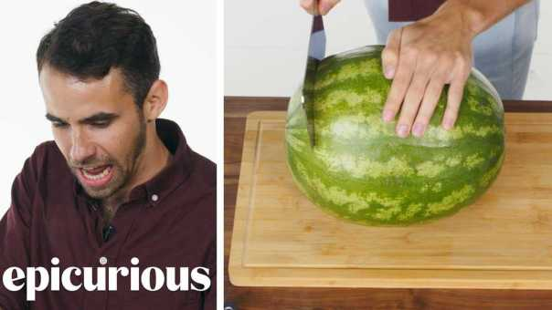 50 People Try to Cut a Watermelon | Epicurious