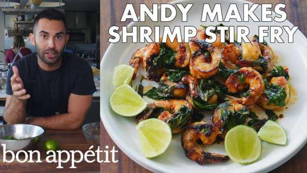 Andy Makes Shrimp and Basil Stir Fry   From the Test Kitchen   Bon Appétit