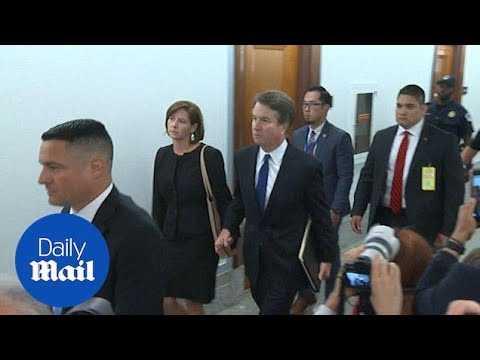 Brett Kavanaugh arrives to defend himself in Senate hearing